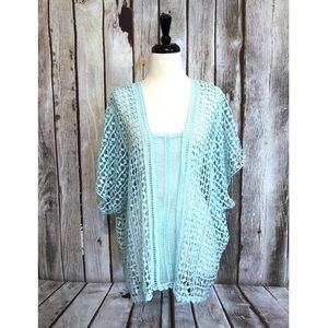 Chico's Alex Crocheted Open Knit Poncho Top